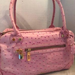 ELAINE TURNER Pink Ostrich Leather Satchel